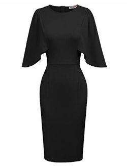 Women 3/4 Ruffle Sleeve Slim Fit Business Pencil Dress