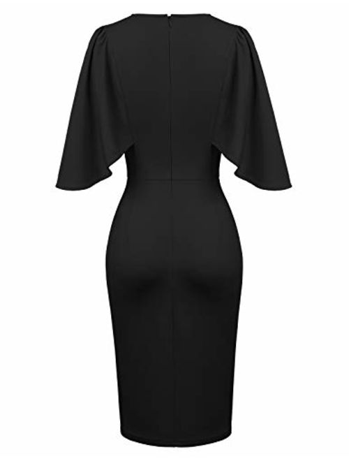GRACE KARIN Women 3/4 Ruffle Sleeve Slim Fit Business Pencil Dress