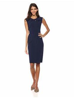 Women's Sleeveless Twist Neck Knot Sheath Dress