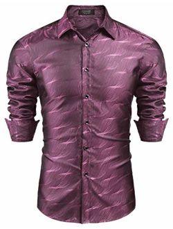 Men's Luxury Dress Shirt Long Sleeve Slim Fit Silk Like Satin Prom Wedding Party Casual Button Down Shirts
