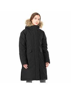 GYMAX Women's Long Down Coat, Removable Faux Fur Hood Thicken Winter Coat Down Jacket Parka Jacket