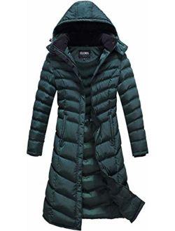 ELORA Women's Warm Winter Heavyweight Quilted 40' inch Long Fleece Trim Puffer Coat Parka Removal Hood