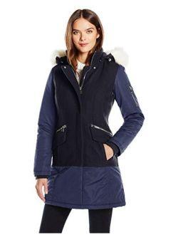 1 Madison Women's Wool Melton Mixed Media Winter Coat