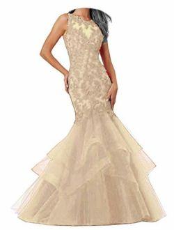 Ellenhouse Women's Applique Tulle Long Mermaid Prom Party Evening Dresses