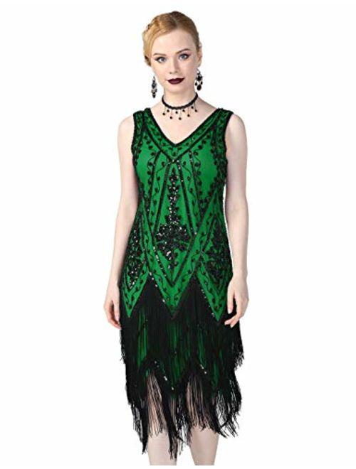 PrettyGuide Women's 1920s Flapper Dress Embellished Vintage Swing Fringed Gatsby Roaring 20s Dress