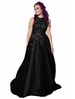 Fanciest Women's Halter Prom Dresses Long 2019 Appliques Backless Evening Formal Dress
