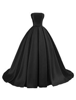Dymaisei Women's Strapless Ball Gown Satin Prom Dresses 2020 Long Evening Formal Dresses