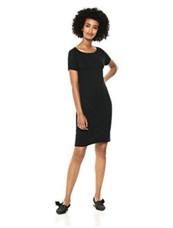 - Daily Ritual Women's Jersey Short-sleeve Bateau-neck T-shirt Dress