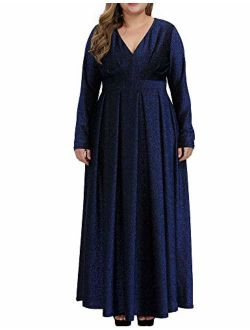 Allegrace Sequins Plus Size Dresses for Women Glitter Pleated Long Sleeve Prom Party Evening Maxi Dress