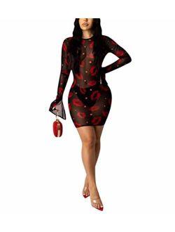 Sprifloral Women Sexy Long Bodycon Dress - Long Sleeve Turtleneck Neck Colorful Sheer Mesh See Through Club Maxi Dress
