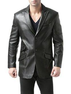 BGSD Men's Noah 2-Button Lambskin Leather Blazer (Regular Big and Tall and Short)
