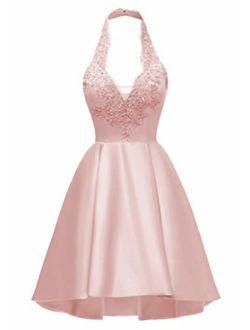Women's A-line Halter Lace Applique Short Prom Dress Asymmetrical Satin Party Dress with Pockets Blush Pink26 Plus
