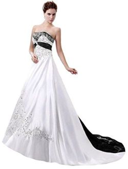 Snowskite Women's Strapless Satin Embroidery Wedding Dress Bridal Gown