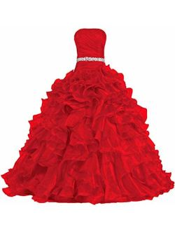 ANTS Women's Pretty Ball Gown Quinceanera Dress Ruffle Prom Dresses Size 4 US Red
