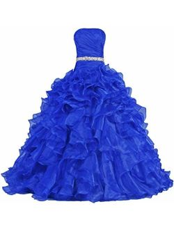 ANTS Women's Pretty Ball Gown Quinceanera Dress Ruffle Prom Dresses Size 8 US Royal Blue