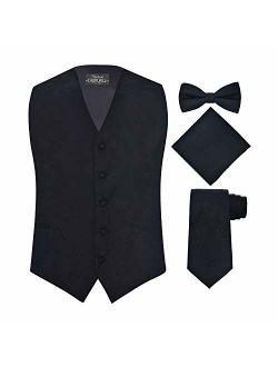S.H. Churchill & Co. Men's 4 Piece Paisley Vest Set, with Bow Tie, Neck Tie & Pocket Hanky