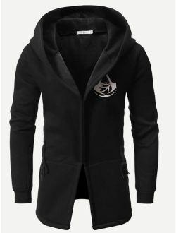 Men Graphic Print Hooded Jacket
