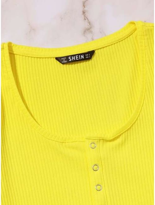 Shein Button Front Rib-knit Crop Top