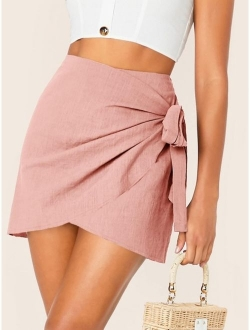 Wrap Tie Side Skirt
