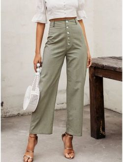 Simplee Button Fly Linen Pants
