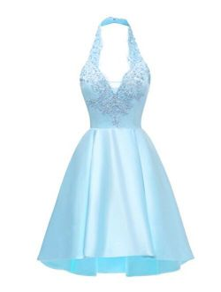 Yilis Halter Short Satin Homecoming Dress A-line Lace Applique Hi-lo Formal Prom Gowns