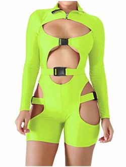 VWIWV Women's Bodycon Bag Buckle High Neck Jumpsuit Long Sleeves Sexy Hollowing Out Romper