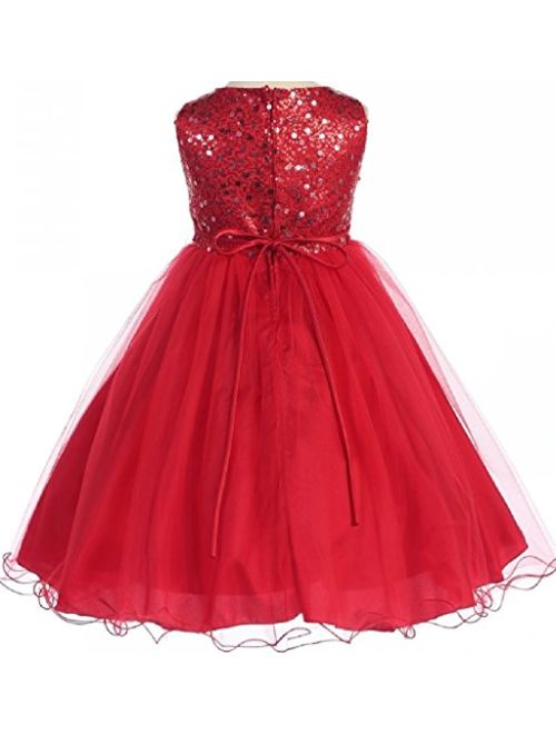Gorgeous Sequined Round Neck Tulle Flower Corsage Pageant Flower Girl Dress