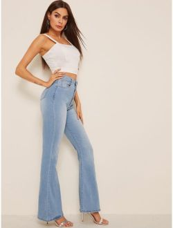 High Waist Flare Leg Denim Jeans