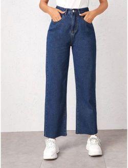 Bleach Wash Wide Leg Jeans