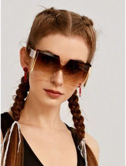 Leopard Print Rimless Sunglasses With Case