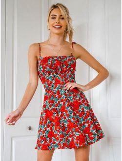 Allover Floral Print Ruched Bust Knotted Cami Dress