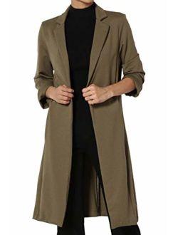 Solid Longline Blazer Day To Night Sleek Open Front Duster Long Jacket