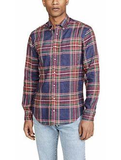 Gitman Vintage Men's Neon Linen Madras Long Sleeve Shirt