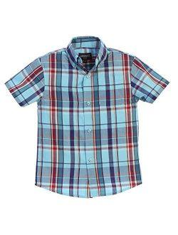 Boys Casual Plaid Checked Short Sleeve Button Down Shirt