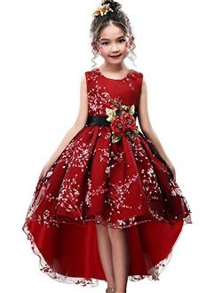 Summer Casual Playwear Girl Lace Size 7-16 13 14 Mint Turquoise High Low Beach Wear Sleeveless Knee Big Girls Kids Mesh Belt Bow Train Floral Petal Pleated Dress Dresses