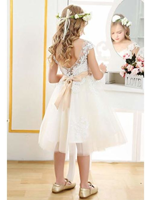 Bow Dream Vintage Lace Flower Embroidery Flower Girl Dress for Formal Wedding Baptism