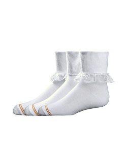 Big Girls' 3 Pack Dressy Turn Cuff Socks