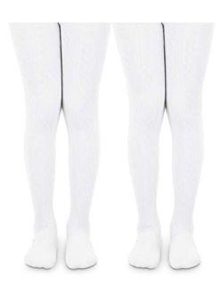Jefferies Socks Girls School Uniform Cable and Rib Tight 2 Pack