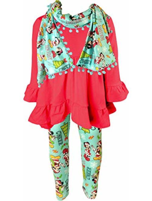 Toddler Little Girls Merry Disney Christmas Outfit Scarf Set - Santa Snowman Reindeer Tree Clothing Sets