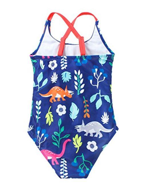 FreeLu Baby Girls' One Piece Cartoon Swimsuit Animal Print Bathing Suit Ruffles Swimwear Cute Baby Bikini Beachwear