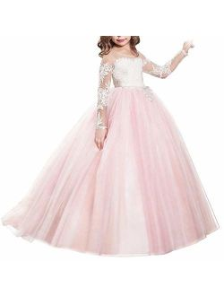 FYMNSI Flower Girls Lace Appliques Wedding Tulle Dress First Communion Long Sleeve Birthday Christmas Party Ball Gown 2-13T