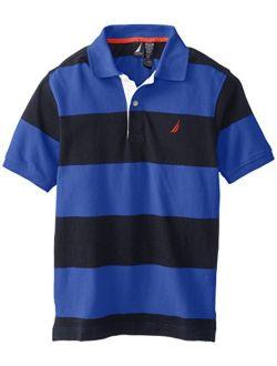Boys' Short Sleeve Striped Pique Polo Shirt