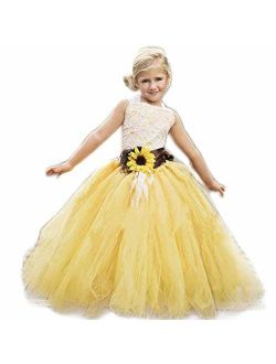 luolandi Yellow Tulle with Sunflower Belt Flower Girl Dress for Communion Pageant Dresses