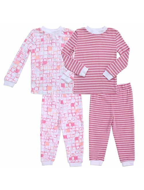 Asher and Olivia Girl's 2-Pack Pajama Set Baby Clothes Pjs Sleepers Footless Sleepwear