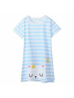 Allmeingeld Girls Kitty Nightgowns Cat Sleep Shirts Cotton Sleepwear 3-10 Years