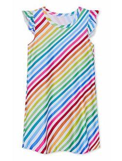 UNIFACO Girls Nightgowns Flutter Sleeve Printed Night Dresses Cute Sleepwear Princess Pajamas Homewear Shirt for 5-12 Years