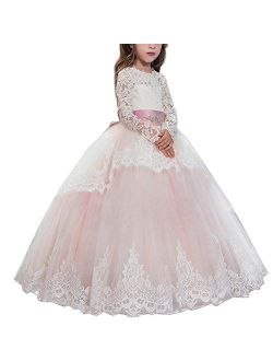 Flower Girl Lace up Long Sleeves Pageant Communion Long Dress Wedding Formal Party Maxi Gown