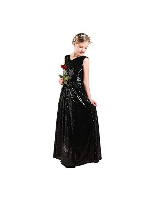 Long Junior Bridesmaid Dress, Sequin Flower Girl Dress Formal Wedding Party Pageant Maxi Dress Dance Ball Gown