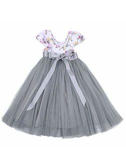 Flofallzique Little Girls Tutu Dress Tulle Floral Easter Casual Toddler Dress Sleeveless