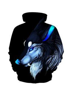CYUURO Unisex 3D Digital Print Sweatshirts Galaxy Pullover Men Women Pocket Hoodies